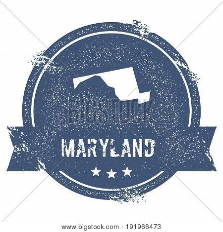 Maryland Mark. Travel Rubber Stamp With The Name And Map Of Maryland, Vector Illustration. Can Be Us
