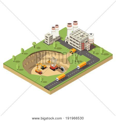 Isometric mining industry template with factory and different industrial vehicles working in extraction area isolated vector illustration