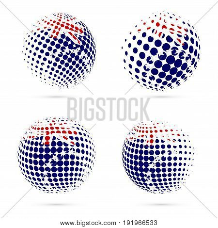 Cook Islands Halftone Flag Set Patriotic Vector Design. 3D Halftone Sphere In Cook Islands National
