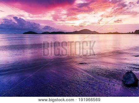 Sea Sunset Or Sunrise In Twilight With Sky And Cloud