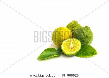 Citrus hystrix bergamot kaffir lime leech lime isolated on white background.