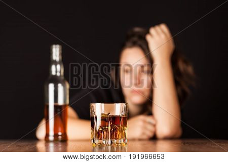 Woman alcohol depression background glass beautiful person