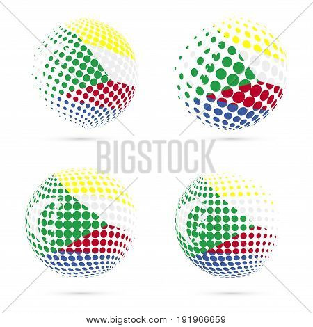 Comoros Halftone Flag Set Patriotic Vector Design. 3D Halftone Sphere In Comoros National Flag Color