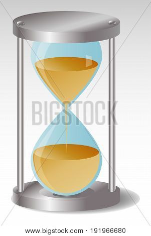 Glass Hourglass with metal hats, Half of the sand flowed out