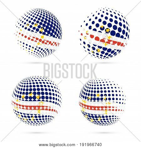 Cabo Verde Halftone Flag Set Patriotic Vector Design. 3D Halftone Sphere In Cabo Verde National Flag