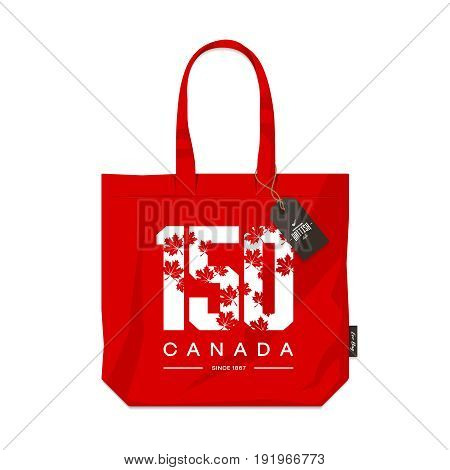 150 anniversary of the founding of Canada maple leaf texture number eco bag isolated vector design.  Premium quality logo concept illustration. Street wear burlap handbag emblem. Modern souvenir badge.