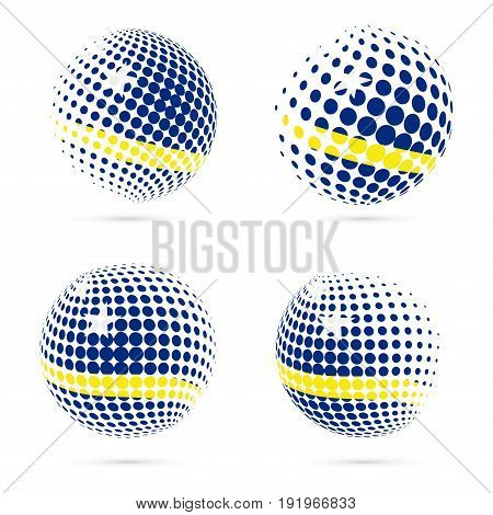 Curacao Halftone Flag Set Patriotic Vector Design. 3D Halftone Sphere In Curacao National Flag Color