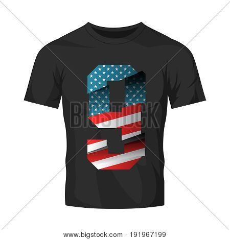 Modern break effect number with United States of America flag texture tee print vector design.  Premium quality professional split superior sport logo concept illustration. Street wear t-shirt emblem.