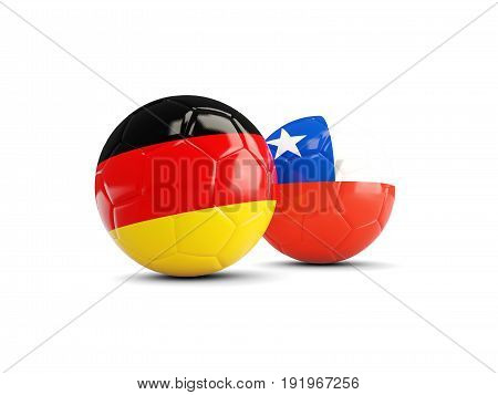 Two Footballs With Flags Of Germany And Chile Isolated On White