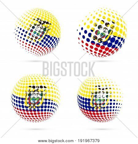 Ecuador Halftone Flag Set Patriotic Vector Design. 3D Halftone Sphere In Ecuador National Flag Color