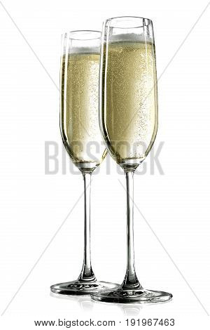 Two champagne glasses white background white objects background