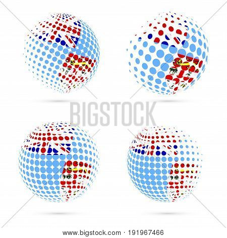 Fiji Halftone Flag Set Patriotic Vector Design. 3D Halftone Sphere In Fiji National Flag Colors Isol