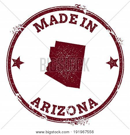 Arizona Vector Seal. Vintage Usa State Map Stamp. Grunge Rubber Stamp With Made In Arizona Text And