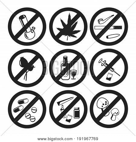 No Drugs icons set, Marijuana narcotic, addiction and capsule, smoke pipe, tablet pharmacy, vector illustration