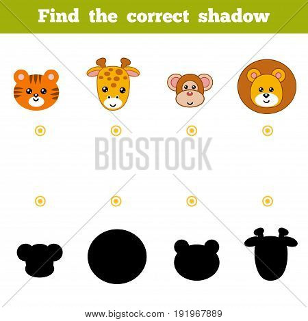 Find The Correct Shadow, Education Game For Children. Set Of Zoo Animals