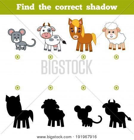 Find The Correct Shadow, Education Game For Children. Set Of Farm Animals