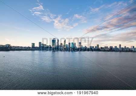 Aerial photograph of the city skyline of Perth, Western Australia, Australia, late in the afternoon.