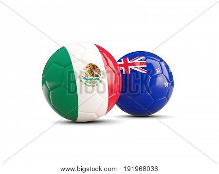 Two Footballs With Flags Of Mexico And New Zealand Isolated On White