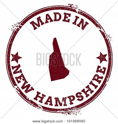 New Hampshire Vector Seal. Vintage Usa State Map Stamp. Grunge Rubber Stamp With Made In New Hampshi