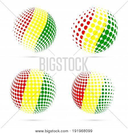 Guinea Halftone Flag Set Patriotic Vector Design. 3D Halftone Sphere In Guinea National Flag Colors