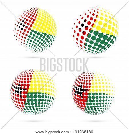 Guinea-bissau Halftone Flag Set Patriotic Vector Design. 3D Halftone Sphere In Guinea-bissau Nationa