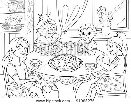 Coloring book Grandmother is sitting at the table. Grandchildren came to visit. Cooking pies