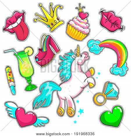 Comic colorful patches set with mouth kiss unicorn cake crown shoes cocktail lipstick hearts ring diamond rainbow isolated vector illustration