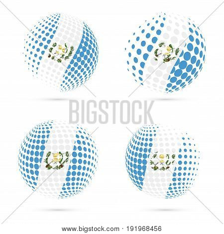 Guatemala Halftone Flag Set Patriotic Vector Design. 3D Halftone Sphere In Guatemala National Flag C