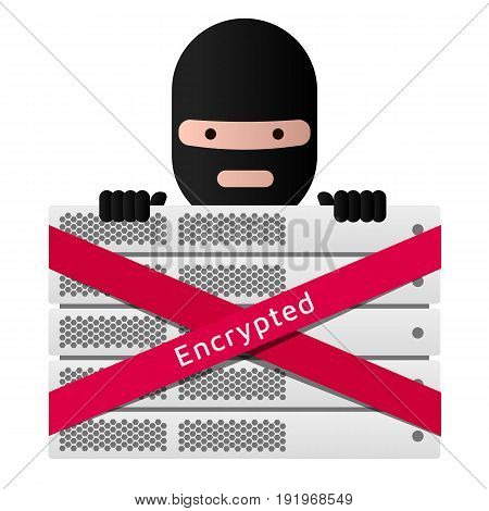 Head of the ransomware and server rack. Red ribbon message Encrypted. Virus encryptor. Editable eps10 Vector. White background.