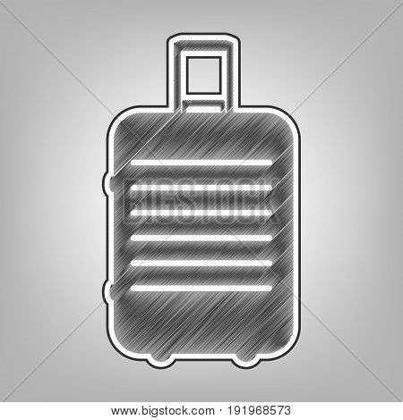Baggage sign illustration. Vector. Pencil sketch imitation. Dark gray scribble icon with dark gray outer contour at gray background.