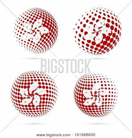 Hong Kong Halftone Flag Set Patriotic Vector Design. 3D Halftone Sphere In Hong Kong National Flag C