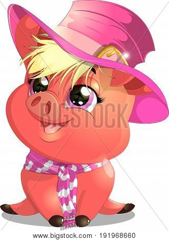 Glamorous piglet in hat on a white background