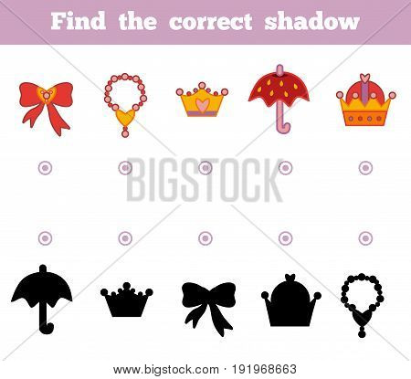 Find the correct shadow education game for children. A set of accessories for the princess