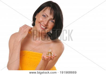 mature woman doing rejuvenation spa procedure on white background. Beauty and care concept