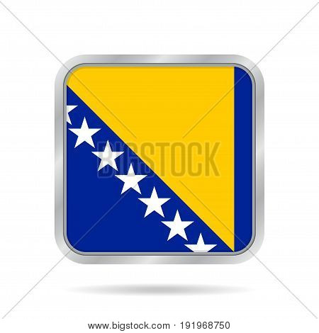 National flag of Bosnia and Herzegovina. Shiny metallic gray square button with shadow.
