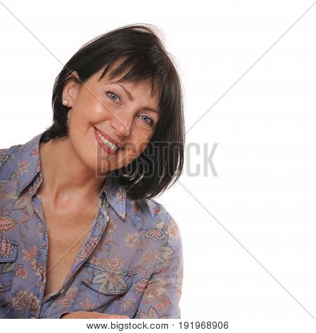 close up portrait of pretty senior woman, beauty and care concept