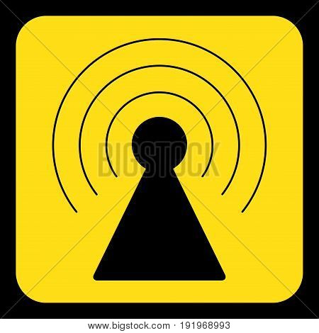 yellow rounded square information road sign with black transmitter tower icon and frame