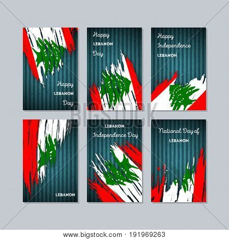 Lebanon Patriotic Cards For National Day. Expressive Brush Stroke In National Flag Colors On Dark St