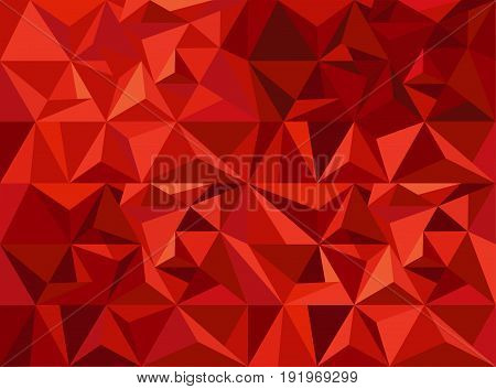Geometric digital abstract background with red triangular structure in polygonal style vector illustration