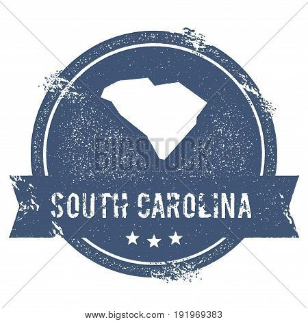 South Carolina Mark. Travel Rubber Stamp With The Name And Map Of South Carolina, Vector Illustratio