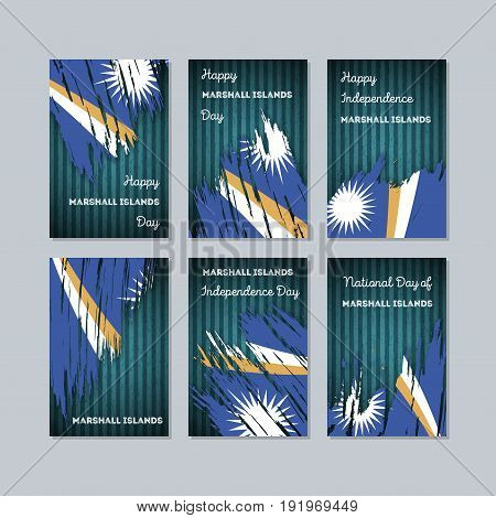 Marshall Islands Patriotic Cards For National Day. Expressive Brush Stroke In National Flag Colors O