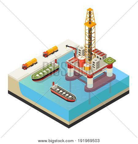 Isometric water oil platform concept with trucks and ships for petroleum transportation isolated vector illustration