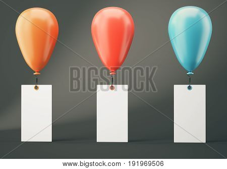 Orange red and blue balloons with blank banners on dark grey background. 3d rendering