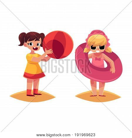 Two little girls playing on beach with inflatable ring and ball, summer vacation, cartoon vector illustration isolated on white background. Babies, girls playing on beach with inflatable ball and ring