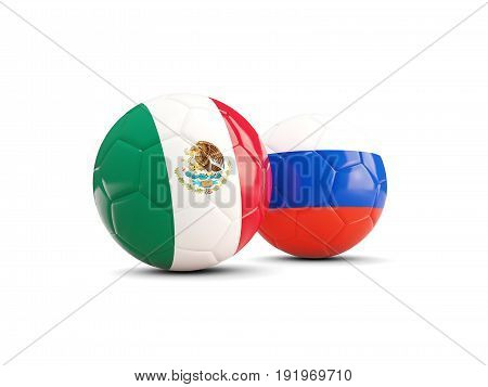 Two Footballs With Flags Of Mexico And Russia Isolated On White