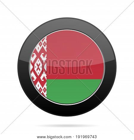 National flag of Belarus. Shiny black round button with shadow.
