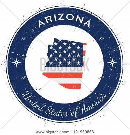 Arizona Circular Patriotic Badge. Grunge Rubber Stamp With Usa State Flag, Map And The Arizona Writt