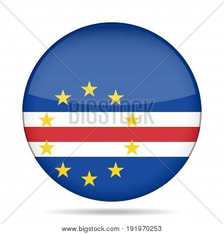 National flag of Cape Verde. Shiny round button with shadow.