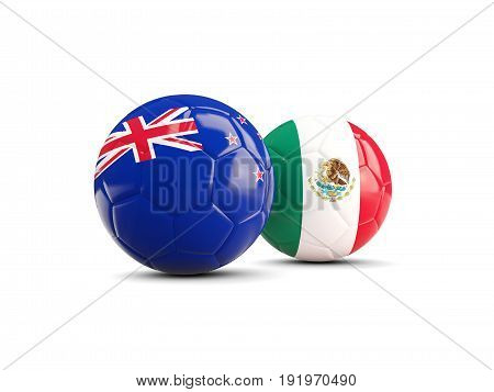 Two Footballs With Flags Of New Zealand And Mexico Isolated On White