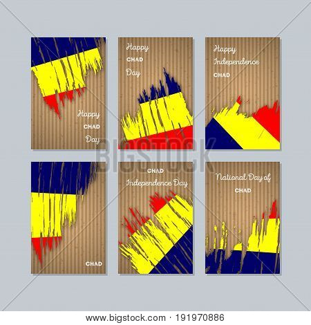 Chad Patriotic Cards For National Day. Expressive Brush Stroke In National Flag Colors On Kraft Pape